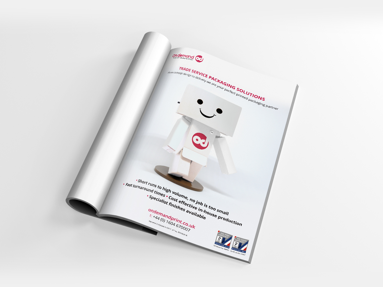 Image of a magazine showing the advert design