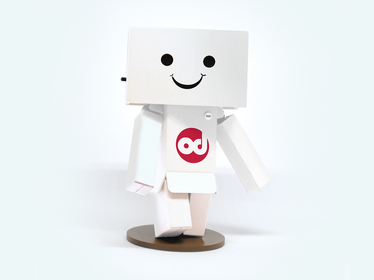 Illustration of a man made from boxes, he is smiling