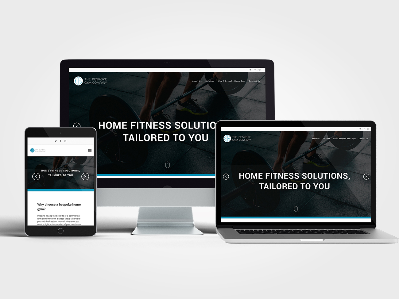 The Bespoke Gym Company Website on multiple devices