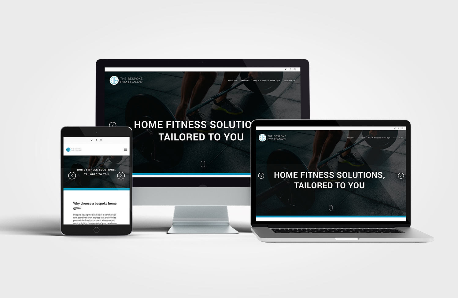 The Bespoke Gym Company Website on multiple devices 2