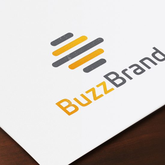 BuzzBrand Logo on printed paper zoomed in