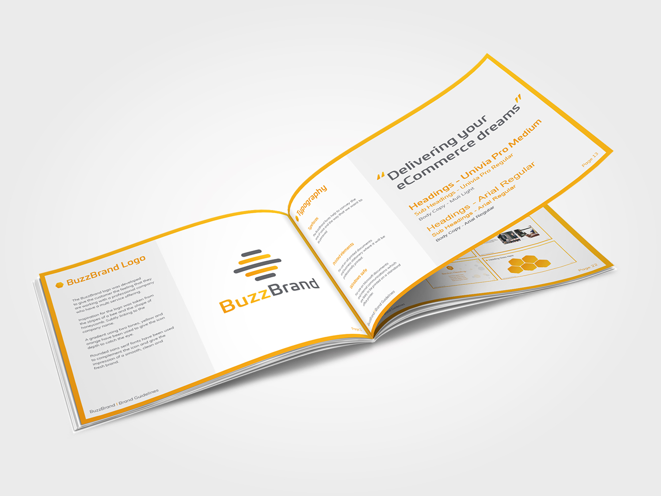 BuzzBrand brand guidelines printed booklet