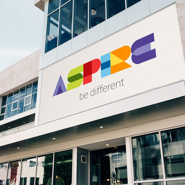 image of colourful logo outside office building