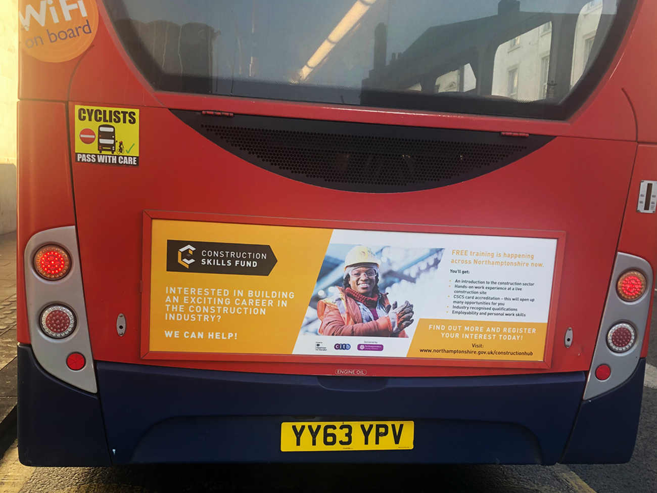 Northampton Bus Showing Construction Advert