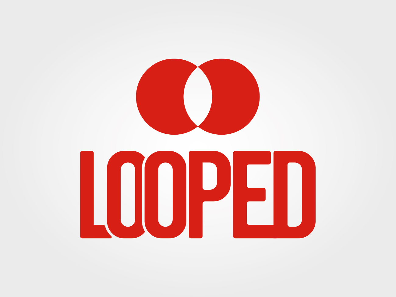 Red Looped logo on a grey gradient background