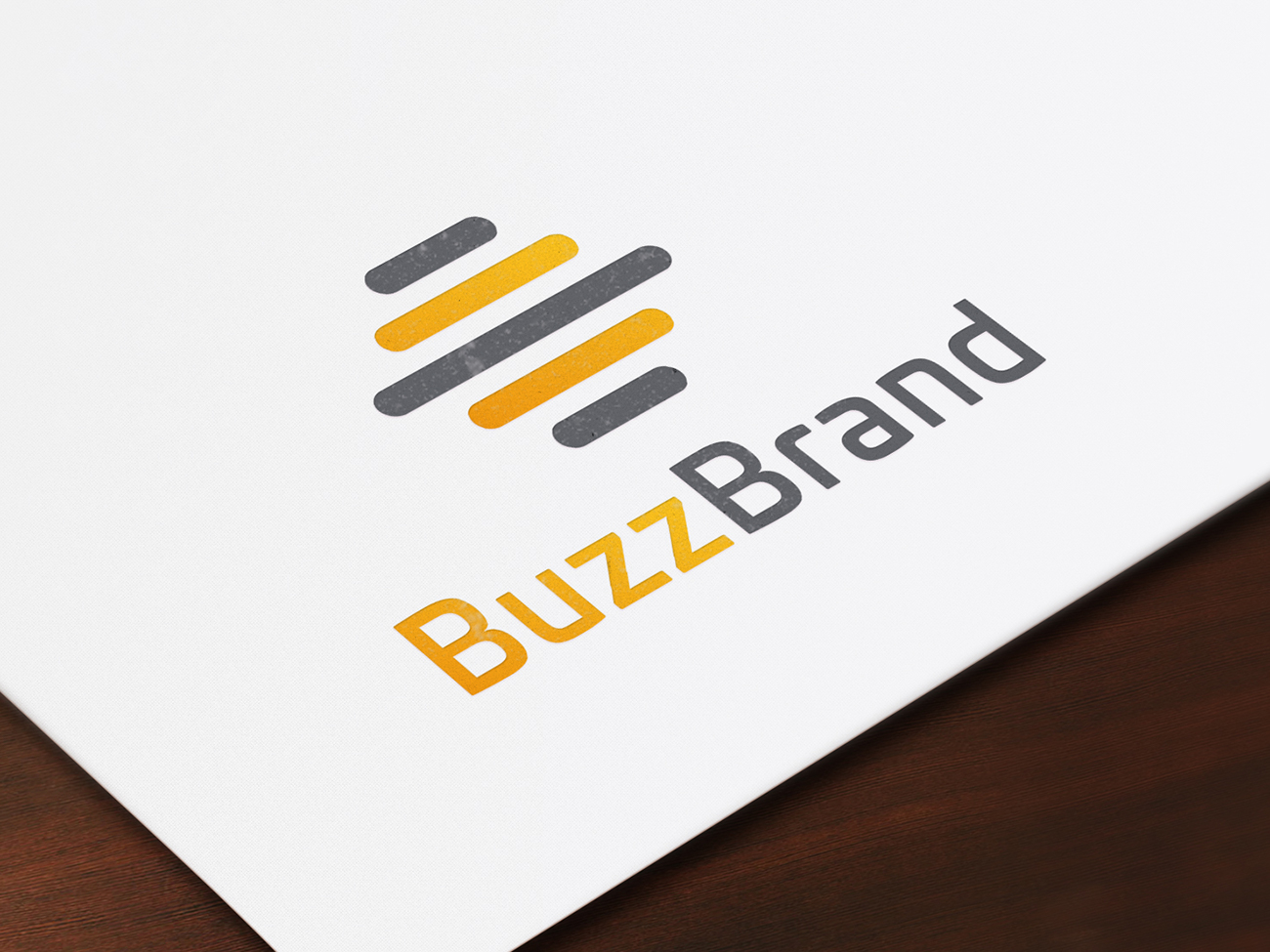 BuzzBrand logo printed on paper shown close up