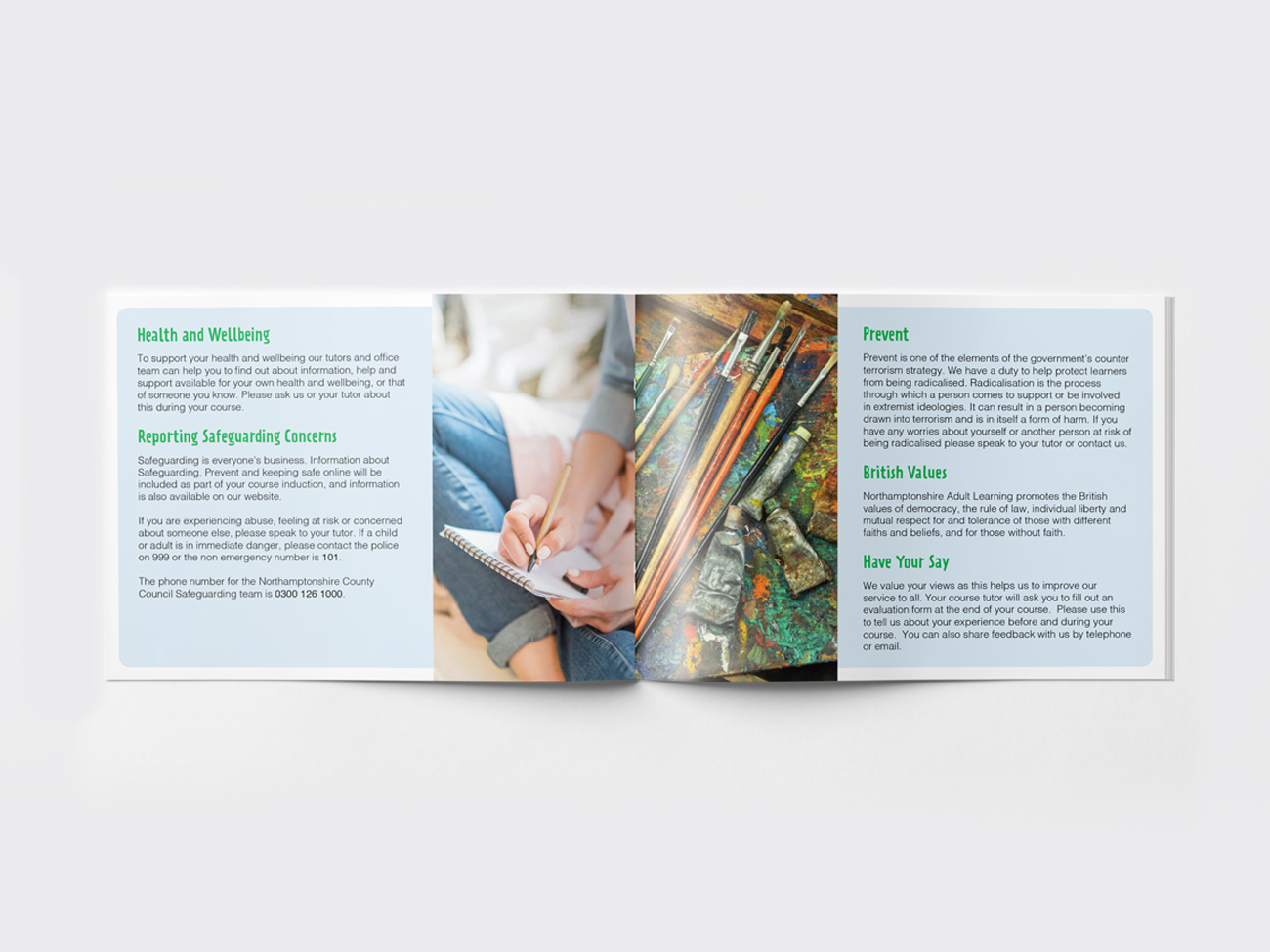 Centre pages of Adult Learning brochure